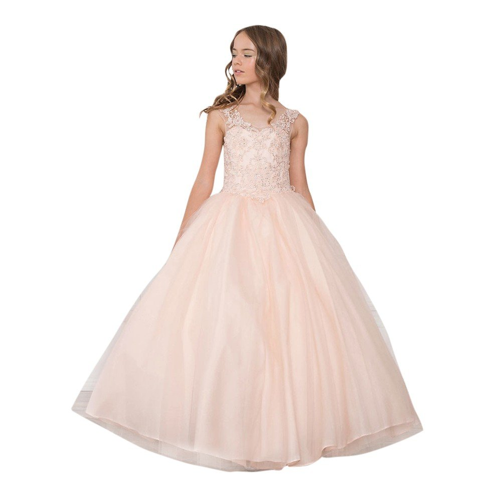 Calla Collection Little Girls Blush Glitter Floor-Length Flower Girl Dress 6 by Calla Collection USA
