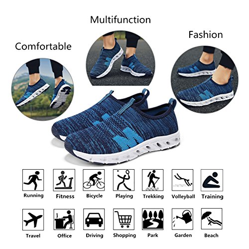 Lightweight Trainers Knitted Walking Fitness Jogging Yoga Shopping Slip for Gym Sneakers Shoes Driving a Shoes Running Trekking Casual On Women Training Tennis Fly Blue Shoes Men qnzqgvwf