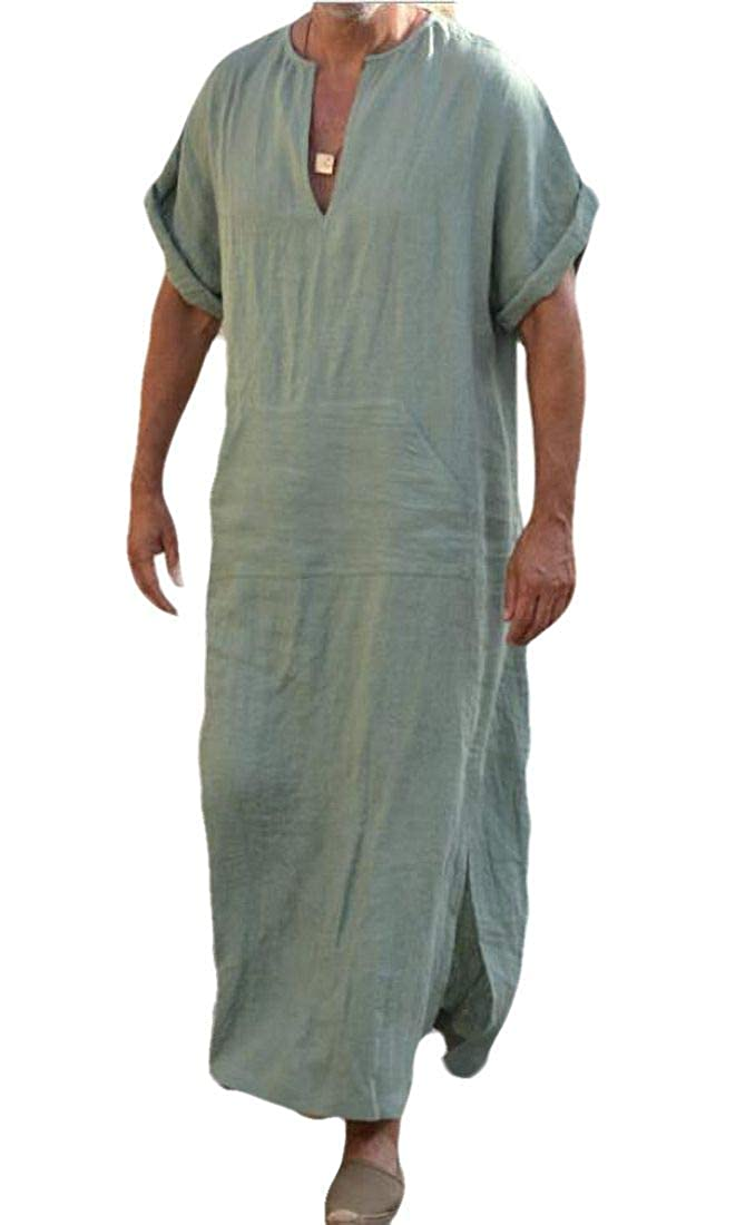 Nanquan Men Short Sleeve Loose fit Islamic Plus Size Islamic Arabian Kaftan