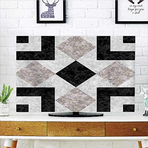 LCD TV dust Cover Strong Durability,Apartment Decor,Nostalgic Marble Stone Mosaic Regular Design with Alluring Elements Image,Black Beige,Picture Print Design Compatible 42