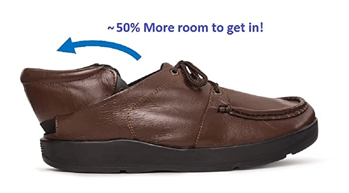 QUIKIKS: Hands-Free, Rear Entry, Slip-on Shoes, Men's Brown Leather Casual Lace-up (11.5-W)