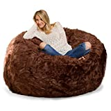 Comfy Sacks 6 ft Memory Foam Bean Bag Chair, Brown Furry