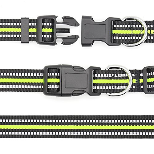 Domagiker Reflective Adjustable Dog Collar - Nylon Basic Puppy Collar with Quick Release Buckle, Dog Walking Safety Pet Collar for Small Medium Large Dogs (Neon Green, X-Large)