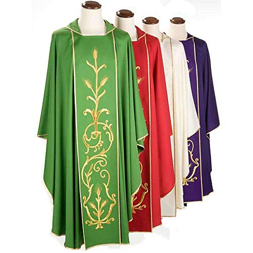 Liturgical Vestment in Wool with Gold Ears of Wheat, Green