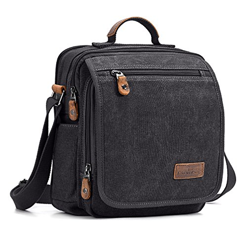 Plambag Canvas Messenger Bag Small Travel School Crossbody Bag Fit iPad Dark Gray