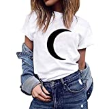 Mlide Women Summer Cute Print Footprint Tops Short Sleeve T-Shirts Blouse Casual Crewneck Tops Tee Shirts,Moon White XS