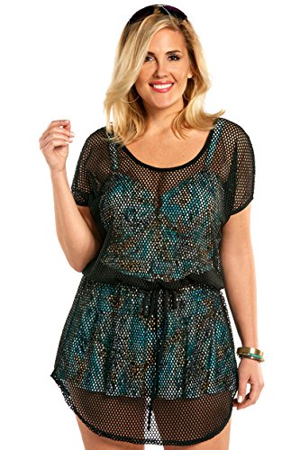 Always For Me Women's Plus Size Fishnet Crochet Cover Up - Ladies' Swimwear Coverup - Black - Fishnet Crochet, 3X - Fishnet Mesh Cover