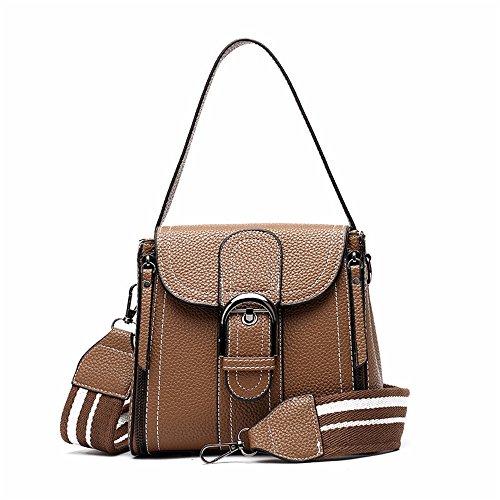 Convient Asdflina Deux Simple rétro magnétique pour épaule Sac Boucle Bag Portable Un PU épaule Bretelles Usage Brown Quotidien Messenger qX6xrp65w