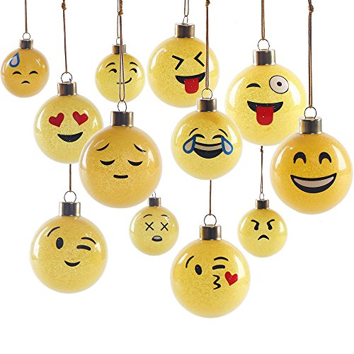 DECORA 12 Pieces Glass Emoji Christmas Balls Ornaments Pendant for Christmas Trees Decoration, 2.36'' (60mm).