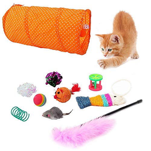 huglove Cat Toys Kitten Toys Assortment, 2 Way Tunnel, Cat Feather Teaser Wand, Fluffy Mouse, Sisal Fish, Wide Springs, Crinkle and Rainbow Balls, Bells Toy for Cat, Kitten, 10pcs in One Pack
