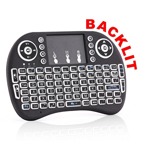 Ps2 Keyboard Touchpad (Backlit Wireless Mini Keyboard - Works with TV, XBOX, Kodi, Tablet, Computer, Android TV Box, HTPC & More - 3in1 Handheld (Touch Pad, Keyboard and Mouse) - Plug n Play)