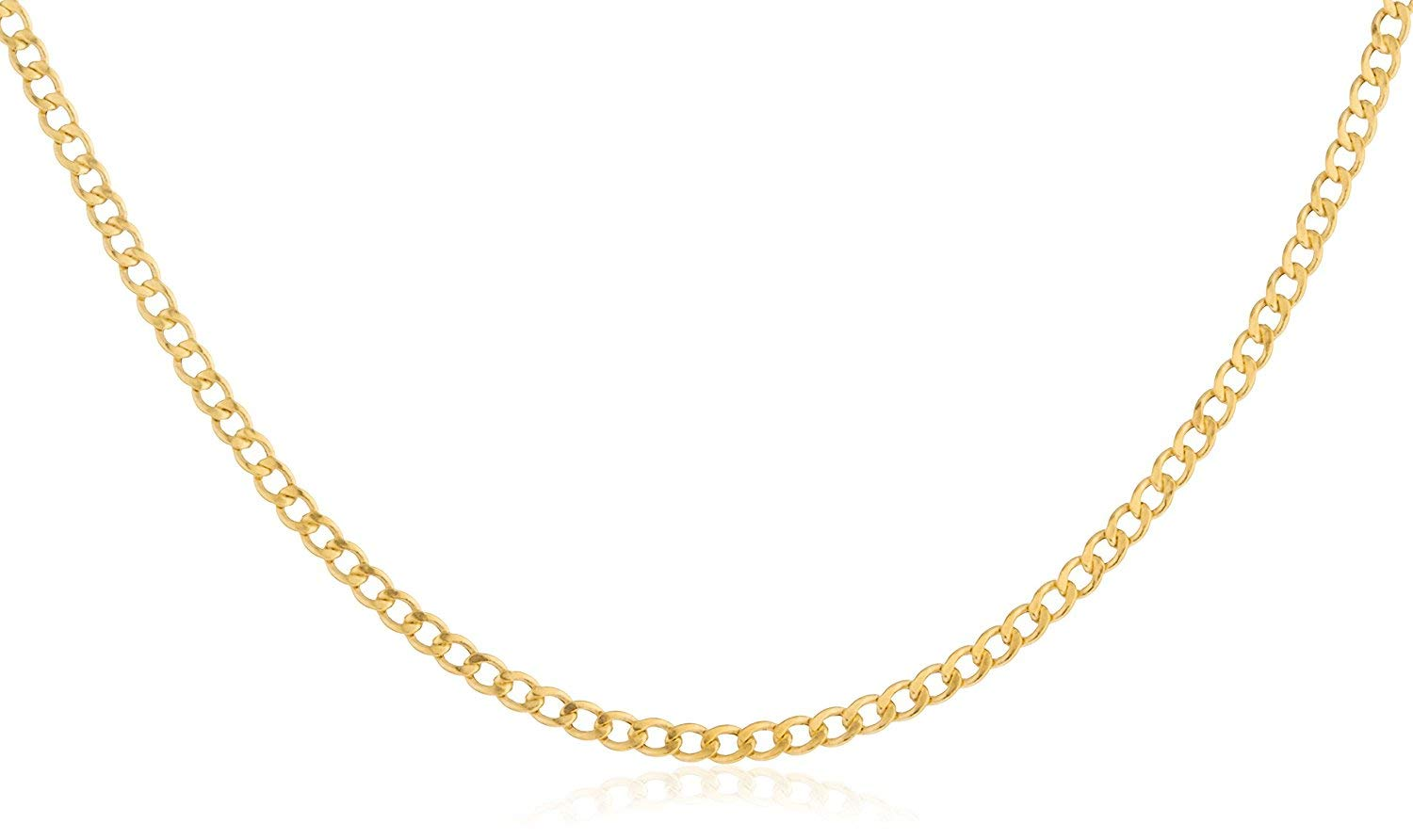 14K Yellow Gold 2.0mm Cuban/Curb Link Chain Necklace- Made in Italy-16-30 (Yellow, 24)