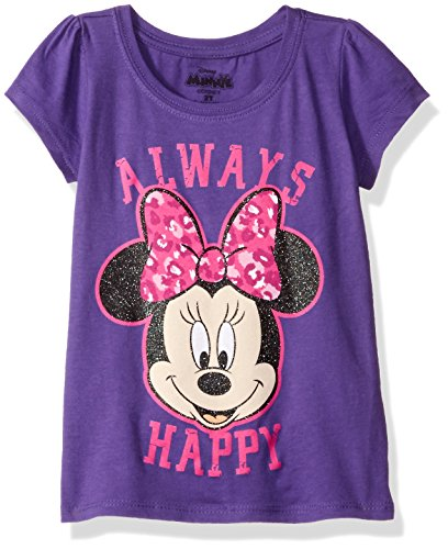 Disney Little Girls' Toddler Minnie Mouse Short Sleeve T-Shirt, Grape Violet, 3T