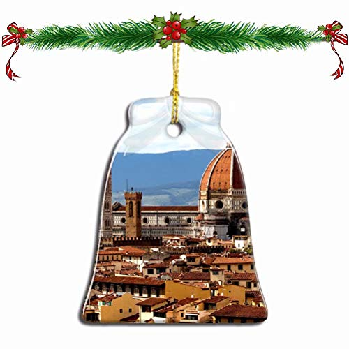 Fcheng Italy Old Town Florence Christmas Ornament Ceramic Xmas Tree Decor Bell Shape City Travel Souvenir Sublimation Porcelain Home Decorative Hanging Gifts