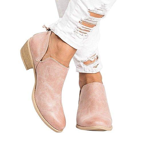 Blocco Chelsea Moda Zeppa Bassi Eleganti Tacco con Rosa Ankle Stivali 43 Stivaletti Boots Flat Marrone Comode Invernale 35 Donna Beige Rosa Neri Cuoio 3cm wvaqIvPx4W
