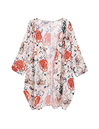 kingf Womens Floral Sheer Loose Kimono Cardigan Capes Loose Kimono Top Blouse
