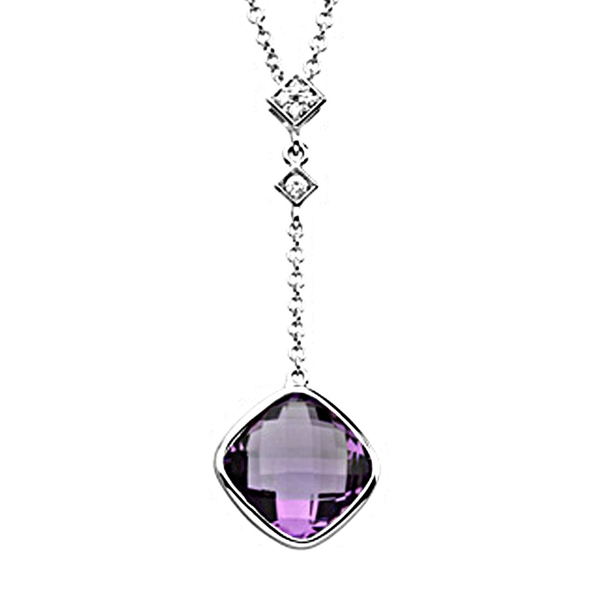 DTJEWELS Cushion /& Round 3.75 Ctw Amethyst /& Sim Diamond Pendant Necklace W//18 14K White Gold Plated