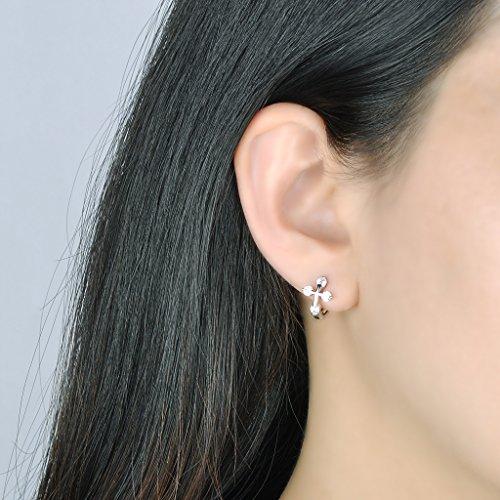Infinite U Boucle d'oreille de femme en argent 925 et zircon bague d'oreille de la croix brillante religieuse