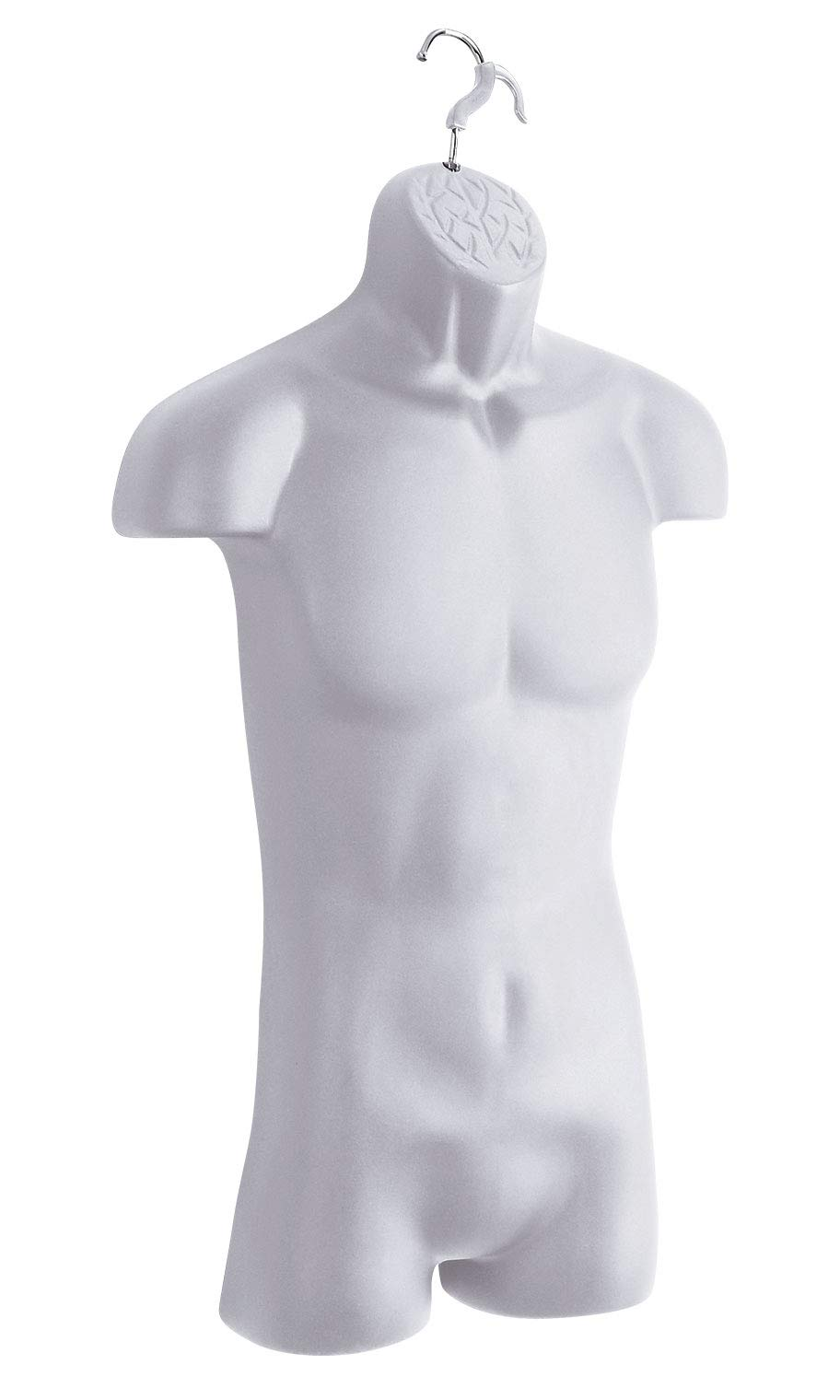 Male Molded White Torso Form - Fits Men's Sizes S-L