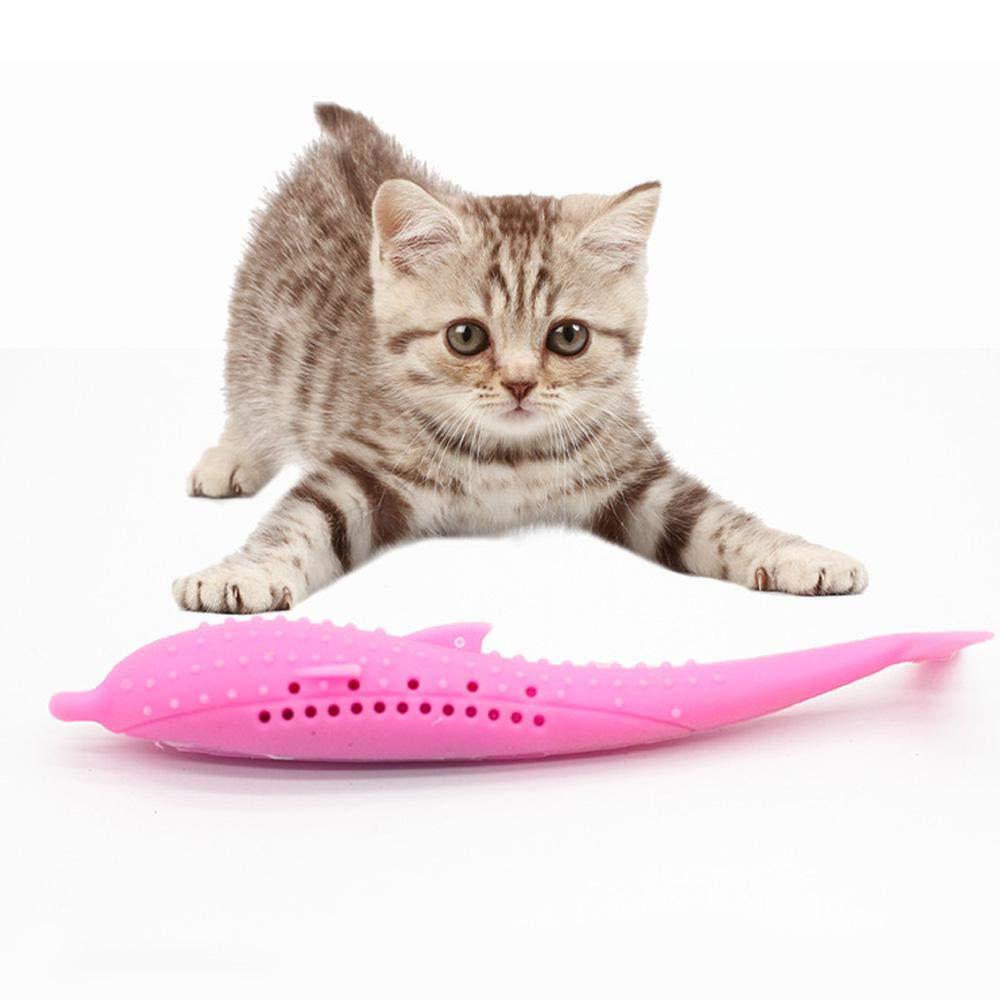 Colori Assortiti Gattini con Erba gatta Bastoncino in Silicone Giocattolo da Masticare per la Pulizia dei Denti per Gatti spazzolino da Denti a Forma di Pesce Gatto Womdee