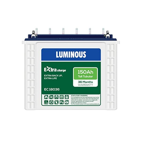Luminous ExtraCharge EC18036 150Ah Tall Tubular Battery 2021 June Balanced plate design for improved charge acceptance & excellent deep discharge, recovery Inter partition connection ensures the lowest internal resistance and excellent charge acceptance, Designed to have a life of over 1250 cycles at 80% depth of discharge (dod) - suitable for areas frequent power cuts,