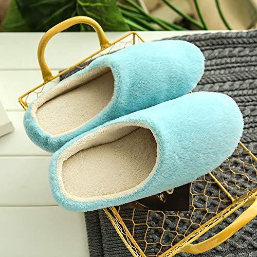 Chaussons Hommes Pantoufles slip Sanfashion Uni Femmes D'hiver Rayé Chaussures L'intérieur Chaud Bleu Maison Anti De À gqCEdwRx