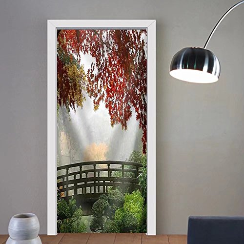 Niasjnfu Chen custom made 3d door stickers Misty Fall Morning in PortlaUIF Japanese Gardens Fabric Home Decor For Room Decor 30x79 by Niasjnfu Chen