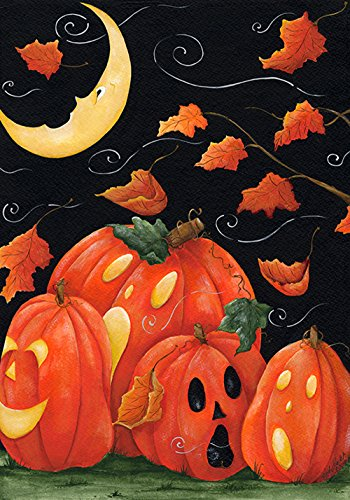 (Toland Home Garden Scary Night 28 x 40 Inch Decorative Spooky Jack O Lantern Pumpkin Halloween House Flag)