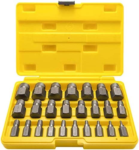 LANNIU Lot de 25 extracteurs de vis /à t/ête hexagonale multi-cannelures en acier /à haute teneur en carbone