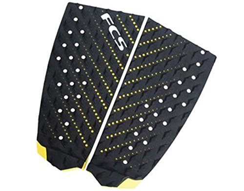 FCS T2 Essentials Hybrid 2 Piece Traction Pad One Size Black/Taxi Cab (Black Yellow Skate Pads)