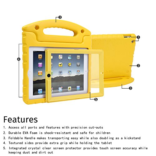 HDE Case for iPad 2 3 4 Kids Shockproof bumper Hard Cover Handle Stand with Built in Screen Protector for Apple iPad 2nd 3rd 4th Generation (Yellow)