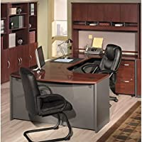 Bush Furnit Corsa Series U-Shape Wood Office Set with Hutch in Hansen Cherry