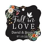 Darling Souvenir Fall in Love Autumn Fall Wedding Favor Hang Tags Custom Bonbonniere Tags-Floral Black-100 Tags