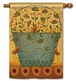 BreezeArt Breeze Art BUTTERFLIES AND BERRIES Standard House / Yard Flag 28 x 40