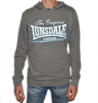 Lonsdale Hombre Mujer Camiseta Sudadera Camiseta con Capucha Polar Impresión Logo Color Gris Gris XL para Hombre: Amazon.es: Ropa y accesorios