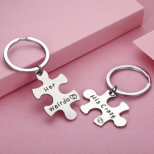 cj m stainless steel his crazy her weirdo couples keychains set