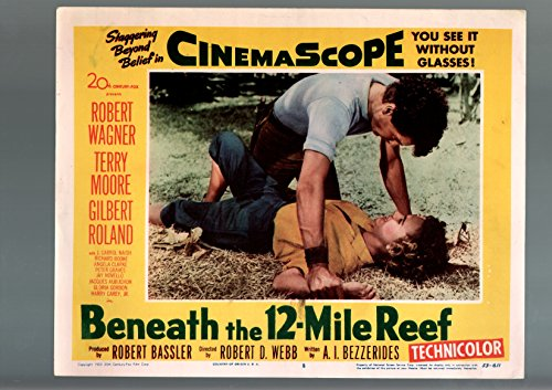 MOVIE POSTER: BENEATH THE 12-MILE REEF-1953-ROBERT WAGNER-TERRY MOORE-ADVENTURE-LOBBY CARD VF
