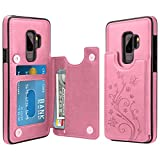 HianDier Wallet Case for Galaxy S9 Plus, Slim Protective Case with Credit Card Slot Holder Flip Folio Soft PU Leather Magnetic Closure Cover Case Compatible with Samsung Galaxy S9+ Plus, Pink