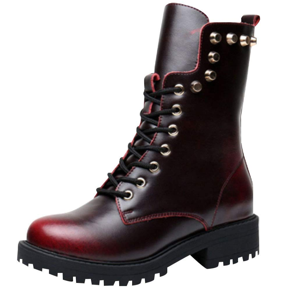Qiusa Herbst Und Winter Leder Mode Martin Stiefel Warme Schuhe (Farbe   4 Größe   42EU)