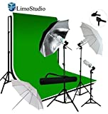 LimoStudio Photo Video Studio Triple Umbrella Light Lighting Kit and Extra Soft White Reflective Umbrella with 10ft x 12ft Black, White and Green Chromakey Muslin Backdrop Support System, LMS906V2