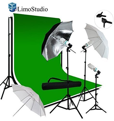 LimoStudio Photo Video Studio Triple Umbrella Light Lighting Kit and Extra Soft White Reflective Umbrella with 10ft x 12ft Black, White and Green Chromakey Muslin Backdrop Support System, LMS906V2 by LimoStudio