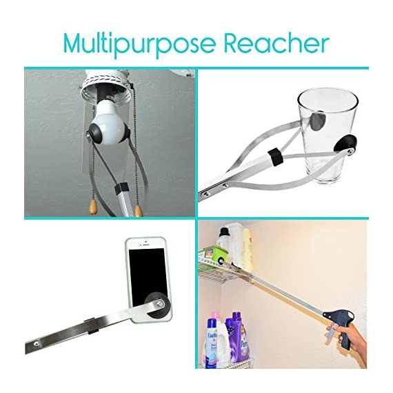 """Vive Suction Cup Reacher Grabber - 32"""" Heavy Duty Mobility Grip Hand Aid - Handle Tool Light Bulb Remover, iPad Pickup, Long Handled Trash Litter Picker, Garbage Garden Nabber Extender - Handicap Arm 2 Easily extend your reach: adding 32"""" to your reach, the suction Reacher allows you to easily reach items stored on high shelves, dropped behind furniture or other tight places, and items on the ground without constant bending and twisting. Great for those with limited dexterity, arthritis, carpal tunnel, or those recovering from surgery or injury. Secure rubber suction cup tips: easily change light bulbs without using a hazardous step stool. Strong rubber suction cups provide a secure grip on any item, including smooth or slippery objects like glass or metal, without damaging the surface. The wide leaf-style jaws close tight enough to retrieve dropped Coins or pills with ease while having the strength to hold items weighing up to five pounds. Ergonomic trigger handle: the comfort grip handle is ergonomically designed to fit easily in either hand for versatility and also includes a built-in hanger for convenient storage when not in use."""