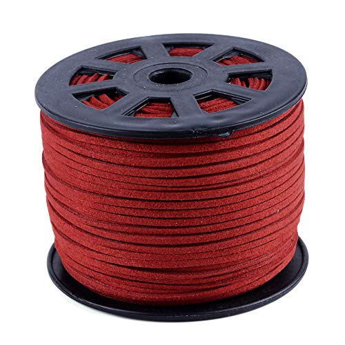 Pandahall 100 Yards/Roll 3x1.5mm Jewelry Making Faux Suede Fiber Lace Flat Leather Cord FireBrick Beading Thread (300 Feet)