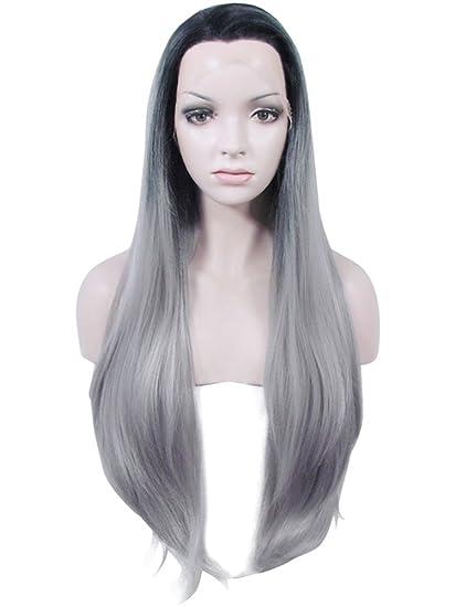Imstyle® color de raíz Ombre gris oscuro cosplay parte frontal de encaje sintético peluca extra