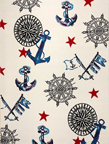 (KC CUBS Boy and Girl Bedroom Modern Decor Area Rug and Carpet Collection For Kids and Children Nautical Sailor (5' 3