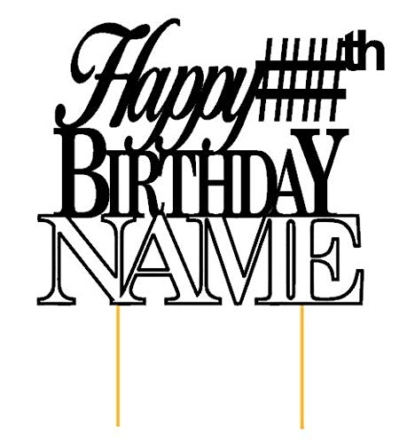 All About Details Customized Happy Birthday Cake Topper With AGE & NAME