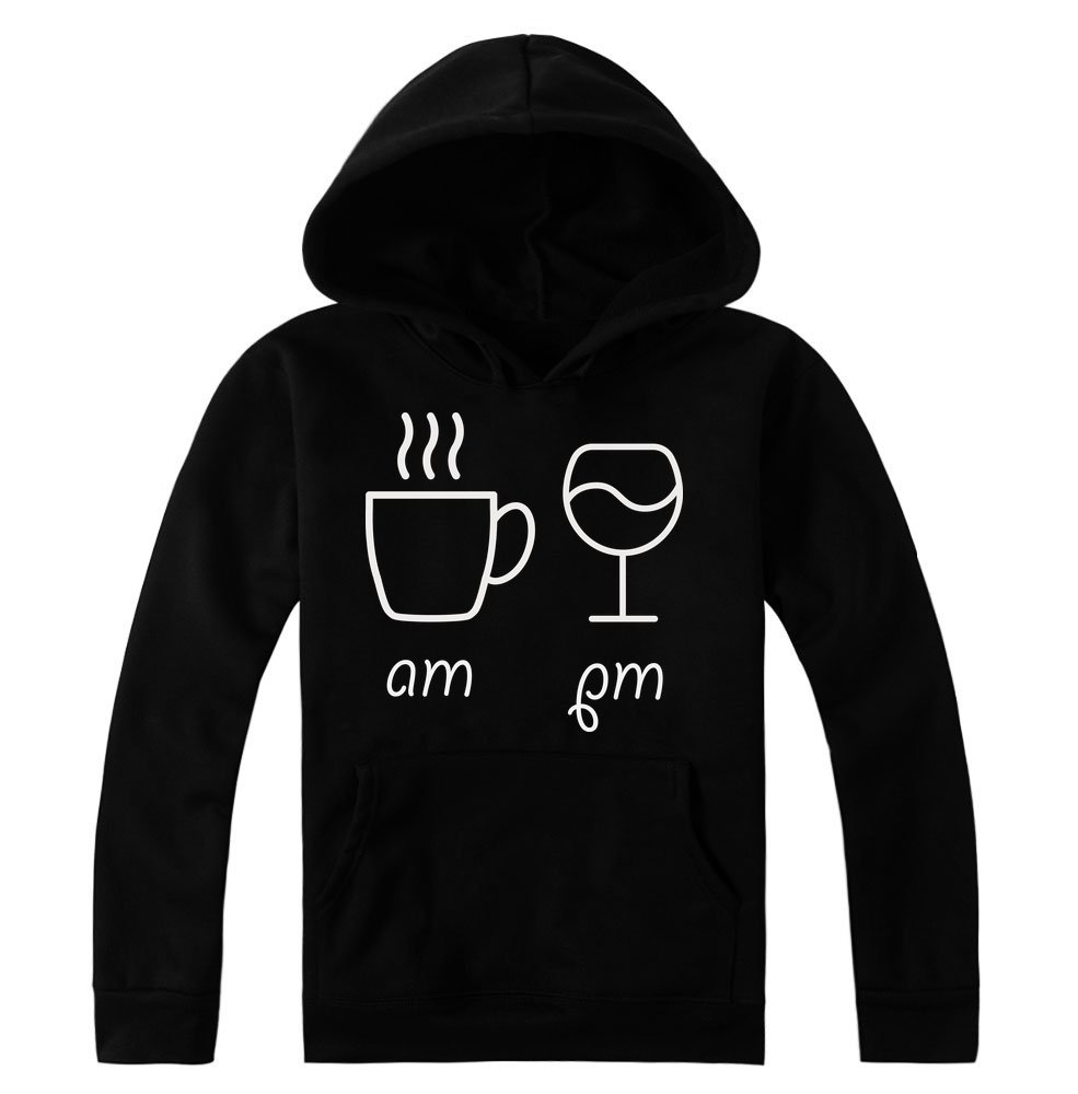 Am Coffee and PM Glass of Wine Women's Hoodie Pullover Large