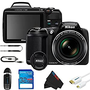 Nikon COOLPIX L340 Digital Camera (Black) + 16GB Pixi-Basic Accessory Bundle