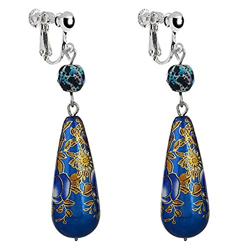 Retro Blue Print Flowers Teardrop Clip on Dangle Earrings Non Pierced Art Deco for Kids Girls Women ()