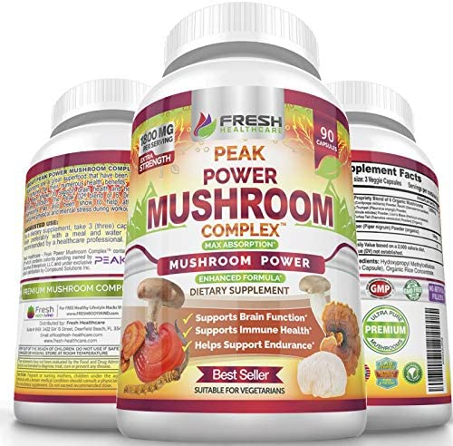 Premium 6 Mushroom Immune Support Supplement, 90 Vegan Capsules of Peak Power Complex with Lions Mane, Cordyceps, Reishi, Turkey Tail, and Shiitake Mushroom Complex for Brain, Stamina, Stress Support